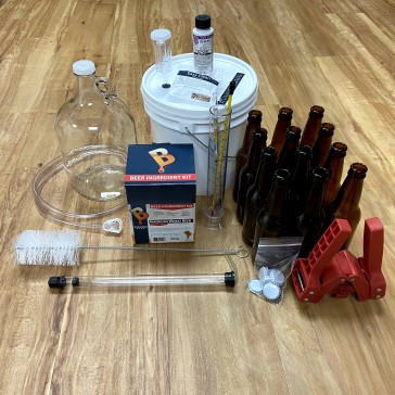 One Gallon Complete Beer Kit with ingredients and bottles